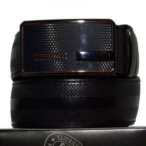 Модный ремень брючный автоматическая пряжка натуральная кожа чёрный цвет