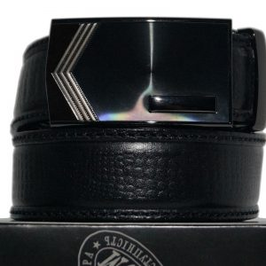 Ремень брючный с автоматической пряжкой кожаный чёрный цвет 35мм